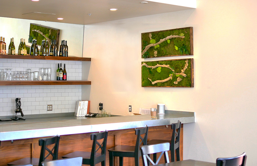 Moss wall installation at cest cheese cafe