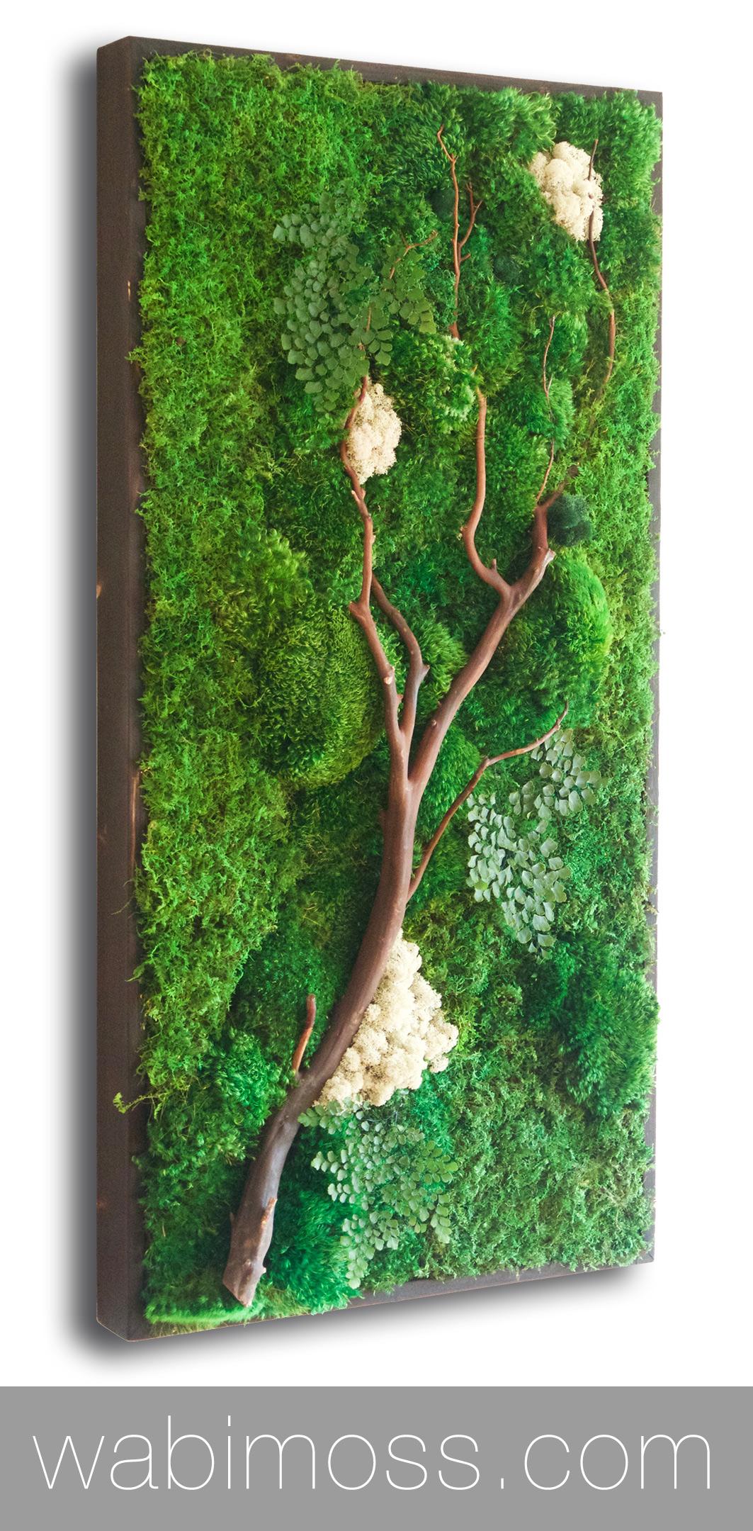 Moss Wall Art 36x18 With Manzanita Branches Wabimoss