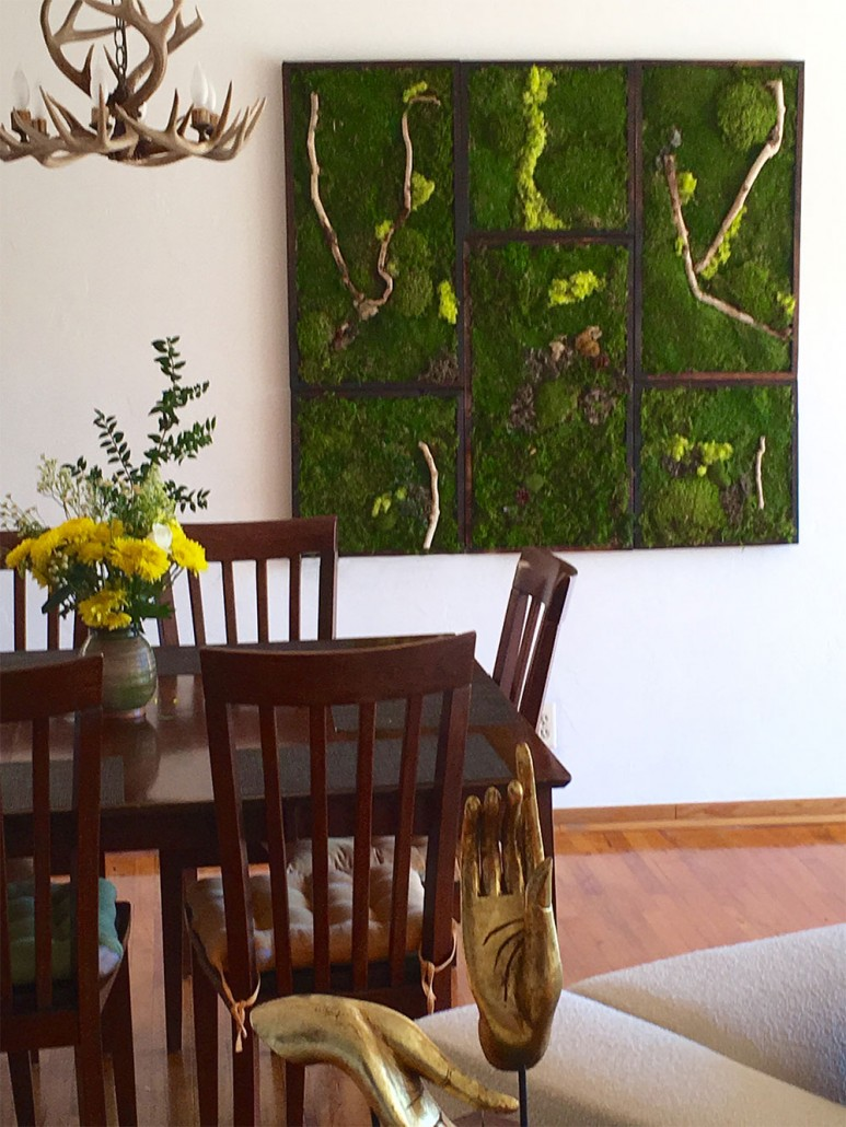 moss painting in living room