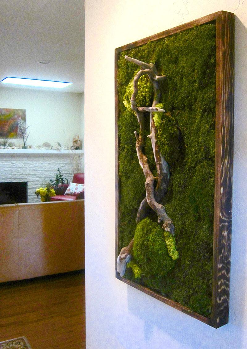 moss art, fern art, sticks